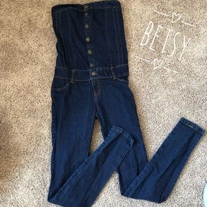 Pants - Betsy Skinny jean strapless Overalls